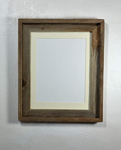 Amazoncom Rustic Frame 85x11 Off White Mat Reclaimed Wood Wall