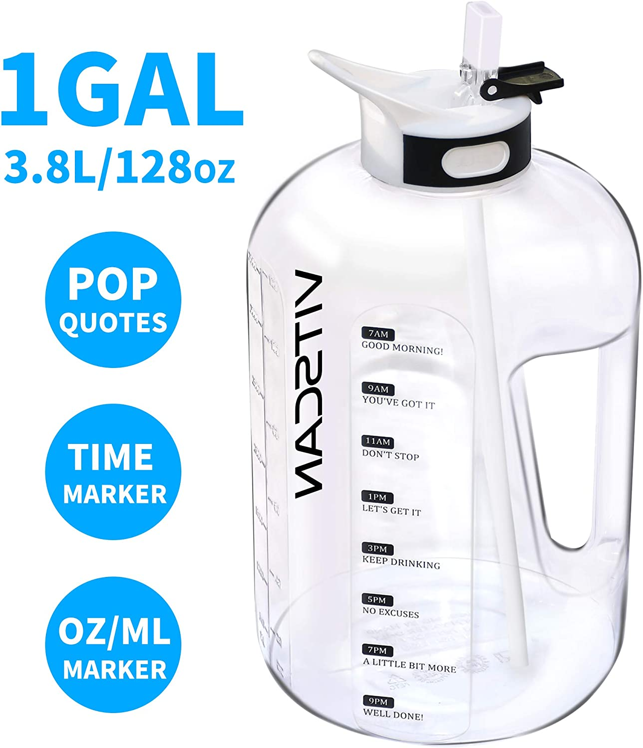 128OZ/1 Gallon Water Bottle with Straw Motivational Water Bottle with Time Marker, Large Water Bottle 128 Oz Water Bottle, Big Water Jug for Sports Water Bottles, Two Handles BPA Free