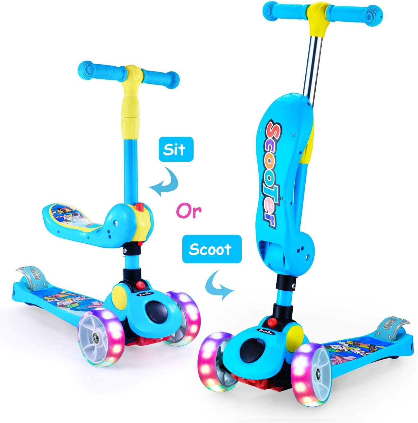 AOODIL 2-in-1 Kick Scooters for Kids Toddler 3 Wheel Scooter for Boys&Girls – Kids Scooter with LED Light Up Wheels – Adjustable Height Wide Deck for ...
