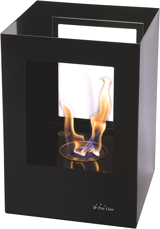 PURLINE HELIOS-B Chemin/ée bio/éthanol en acier laqu/é noir avec deux vitres en verre tremp/é thermor/ésistant