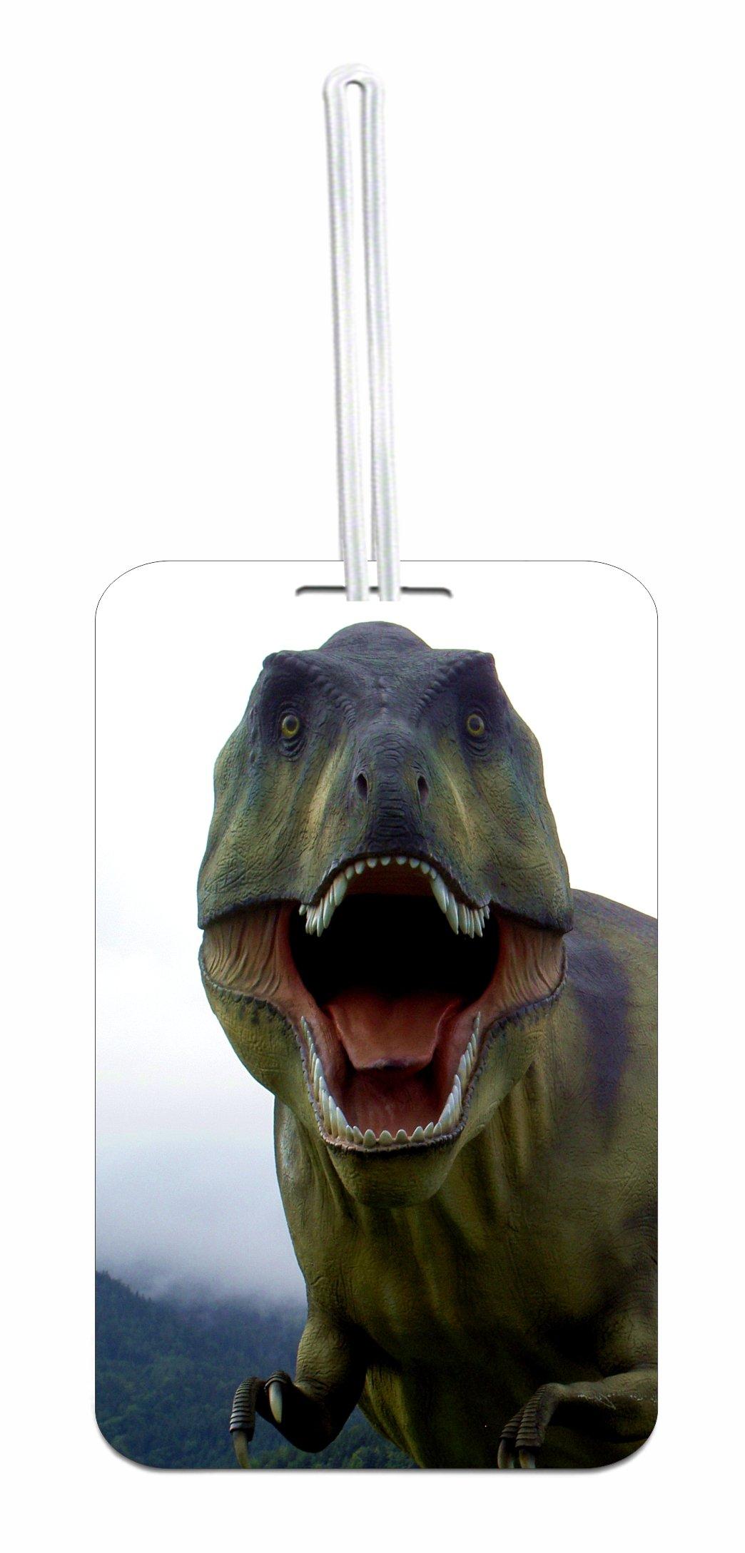 T Rex Dinosaur School Bag/Backpack ID Tag with Custom Back