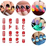 BTArtbox 12 Packs Over 36 Different Designs Tip Guide Nail Vinyl Self-adhesive Nail Stencil Sticker Easy Nail Art Set for Finger or Toe