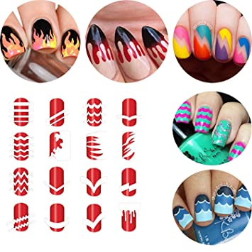 BTArtbox 12 Packs Over 36 Different Designs Tip Guide Nail Vinyl  Self-adhesive Nail Stencil