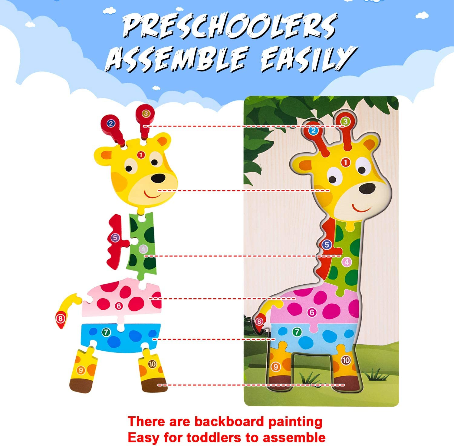 Wooden Toddlers Puzzle Montessori Toys Animal Block Big Size for Kids Learning Toys Gift for Age 1 2 3 4 Year Old Girls Boys Preschool Activities Educational Game Travel Toys