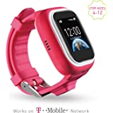 NEW VERSION TickTalk 1.0S Touch Screen Kids Wearable tracker wrist Phone w/ GPS locator, Controlled by Apple and Android phone APP Including FREE Sim Card and Preloaded with $5 (pink)