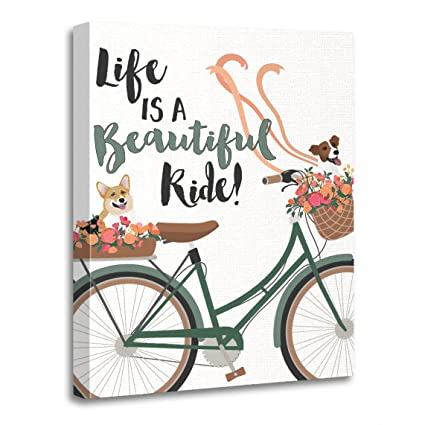 Amazon.com: TORASS Canvas Wall Art Print Dog Life Is Beautiful Ride ...
