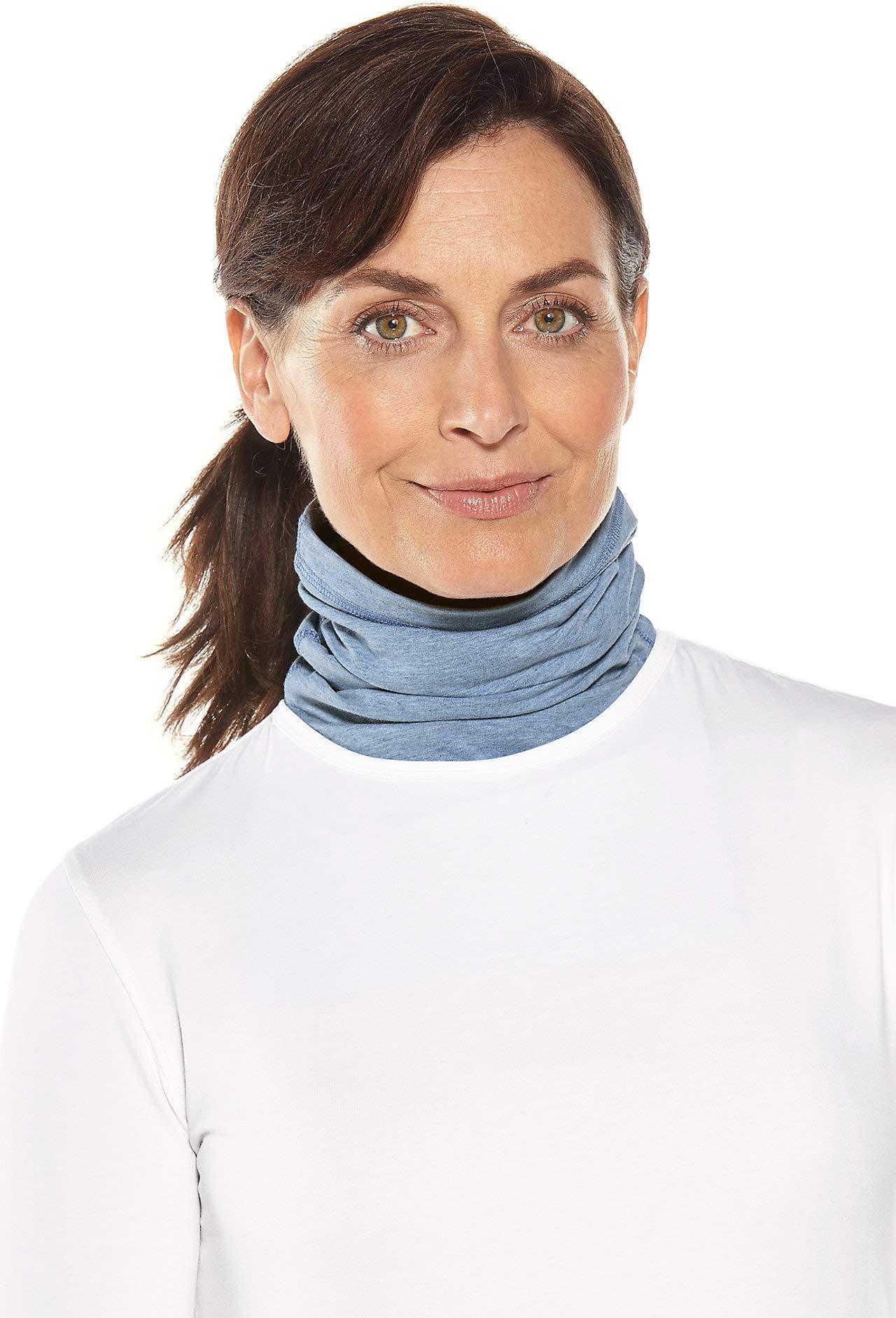 Coolibar UPF 50+ Unisex Sun Neck Gaiter - Sun Protective (Small/Medium- Light Blue Heather)