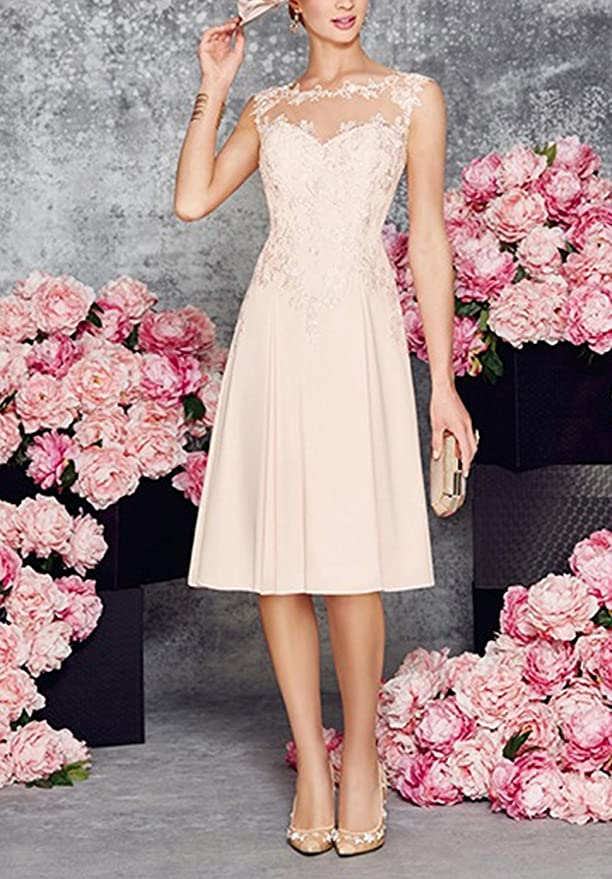 e9c0398ca91 APXPF Women s Tea Length Lace Chiffon Mother of The Bride Dresses Two Pieces  with Jacket at Amazon Women s Clothing store