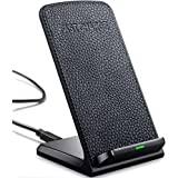 Heyee Wireless Charger,Cordless Leather Phone Charger Portable Charging Stand Pad For iPhoneX,iPhone8,iPhone8 Plus,Samsung Galaxy S8,Galaxy S8 Plus,S7,S7 Edge,Note 5,S6 Edge Plus&QI-Enabled Devices
