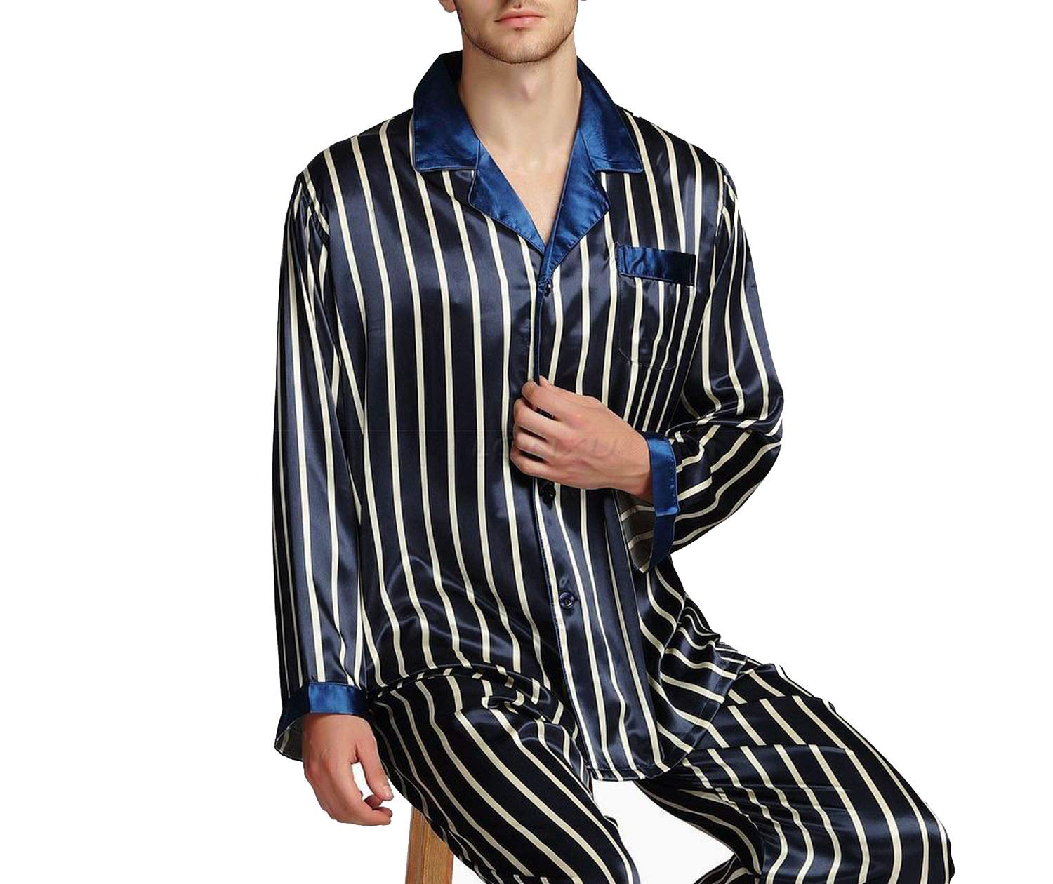 Mens Silk Satin Pajamas Set Pyjamas Set Sleepwear Loungewear,Navy Strip,S