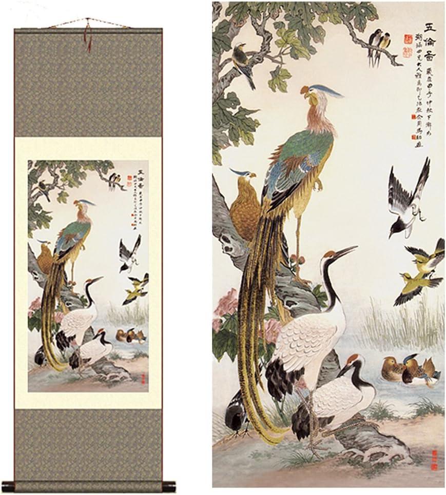 Sunmir (TM) Silk scroll painting Song of the Phoenix