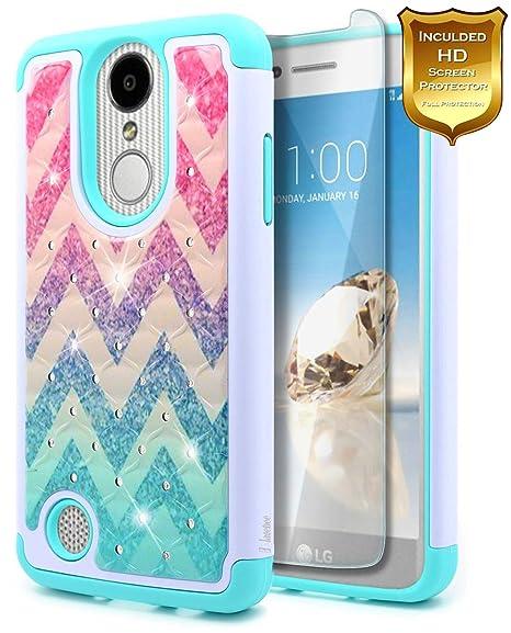 innovative design 6369a 3f001 LG Aristo Case, LG K8 2017 /Phoenix 3 /Fortune/Rebel 2 LTE/Risio 2 /K4 2017  w/[Screen Protector HD Clear], NageBee [Glitter Diamond] Studded ...