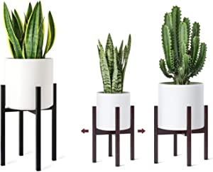 Mkono Plant Stand Mid Century Tall Metal Pot Stand and Adjustable Indoor Modern Plant Holder Wooden Planter Stand (Plant Pot Not Included) Plants Display Rack