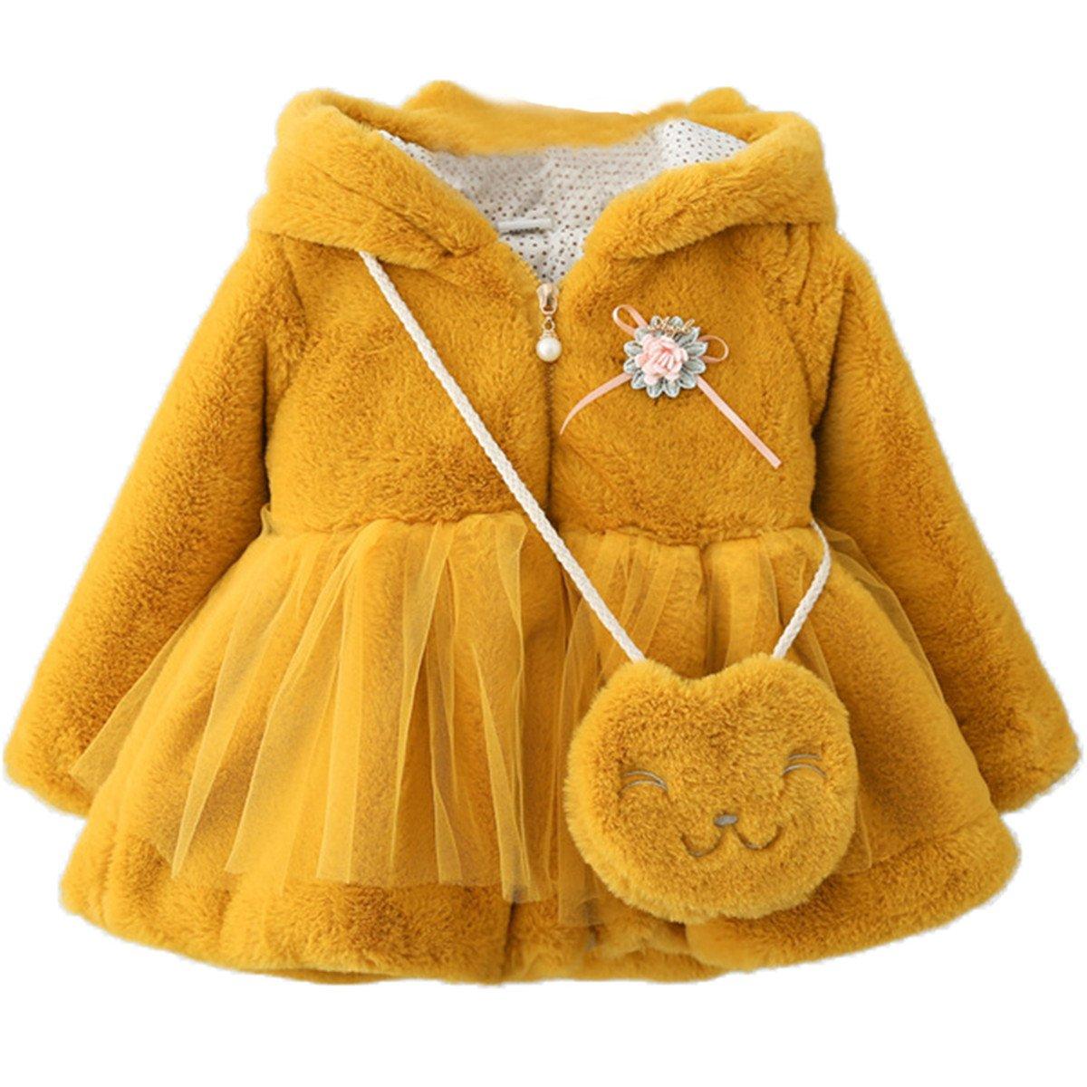 Bbay Kids Little Girls Kids Faux Fur Cartton Ear Hooded Lace Coat Jacket Outwear with Bag