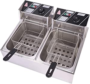 Olenyer 5000W Electric Deep Fryer with 2 basket and Lid Stainless Steel Double Countertop Oil Fryer for French Fries Fish Turkey Donuts Restaurant Home Kitchen(12.7QT/12L)