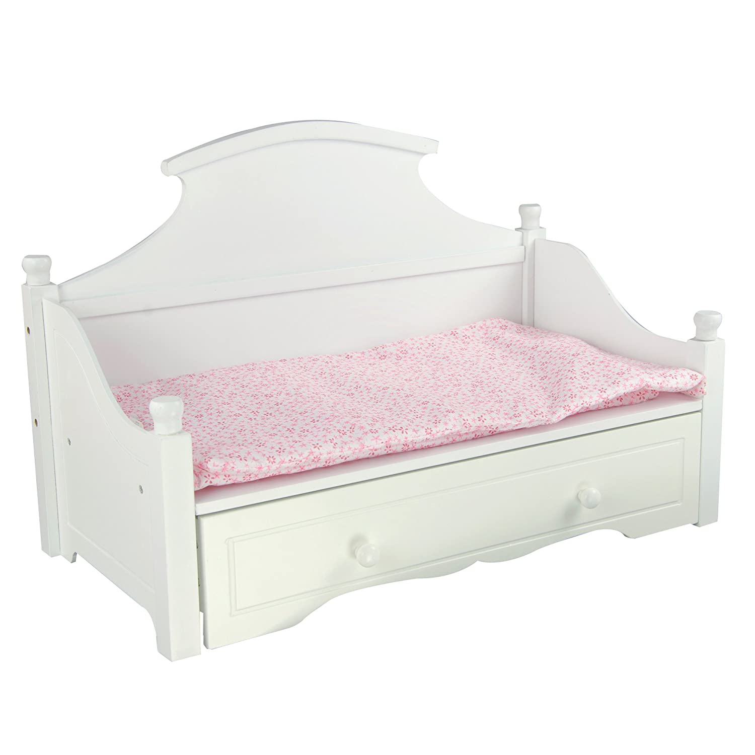 amazoncom little world sweet girl white trundle bed with pink floral mettress wooden 18 inch doll furniture toys u0026 games