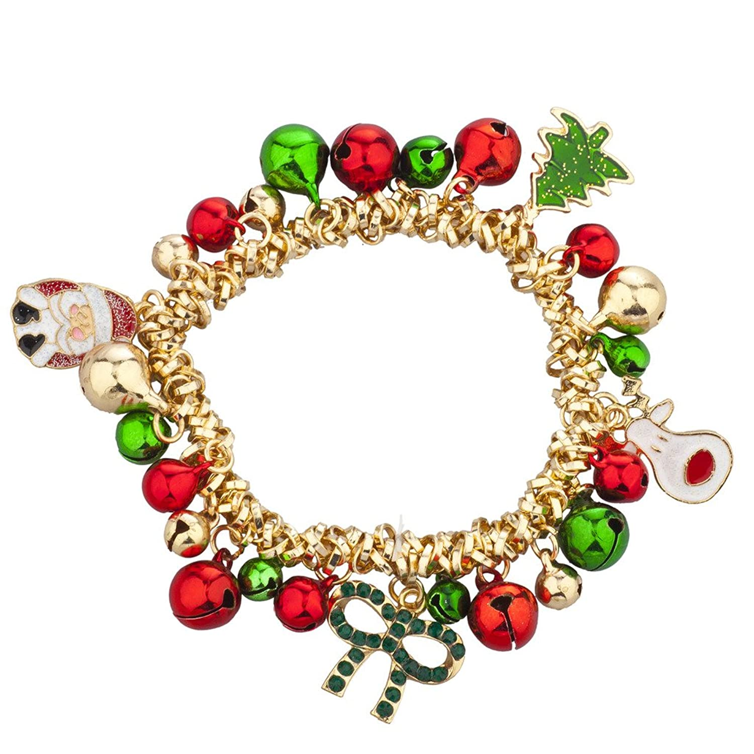 Lux Accessories Christmas X-Mas Holiday Jingle Bells Charm Bracelet