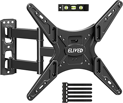 TV Wall Mounts,Full Motion TV Mount TV Bracket Fits 26-55 Inch Flat Curved TVs with 180 Swivels, Tilts, Level 19 Extends, Articulating TV Arms Wall Mount Supports TV up to 88 lbs, Max VESA 400×400