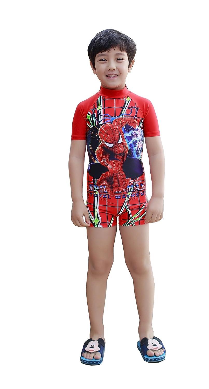 Colorfulworldstore SpiderMan Boys Swimwear-Child Short sleeve UV Beachwear-One Piece Children's Surf clothing 1890