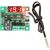 DROK® Micro Digital Thermostat DC 12V -50-110℃ Temperature Controller Board Cooling /Heating Control Module Switch with 10A 1-channel Relay and Waterproof Sensor Probe