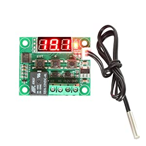 DROK Micro Digital Thermostat DC 12V -50 to 110x2103; Temperature Controller Board Electronic Temperature Temp Control Module Switch with 10A One-channel Relay and Waterproof