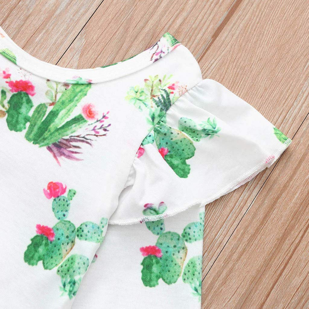 SUNBIBE Toddler Baby Girls Fly Ruffles Long Sleeve Romper Cactus Print Jumpsuit Infant Overalls Bodysuit