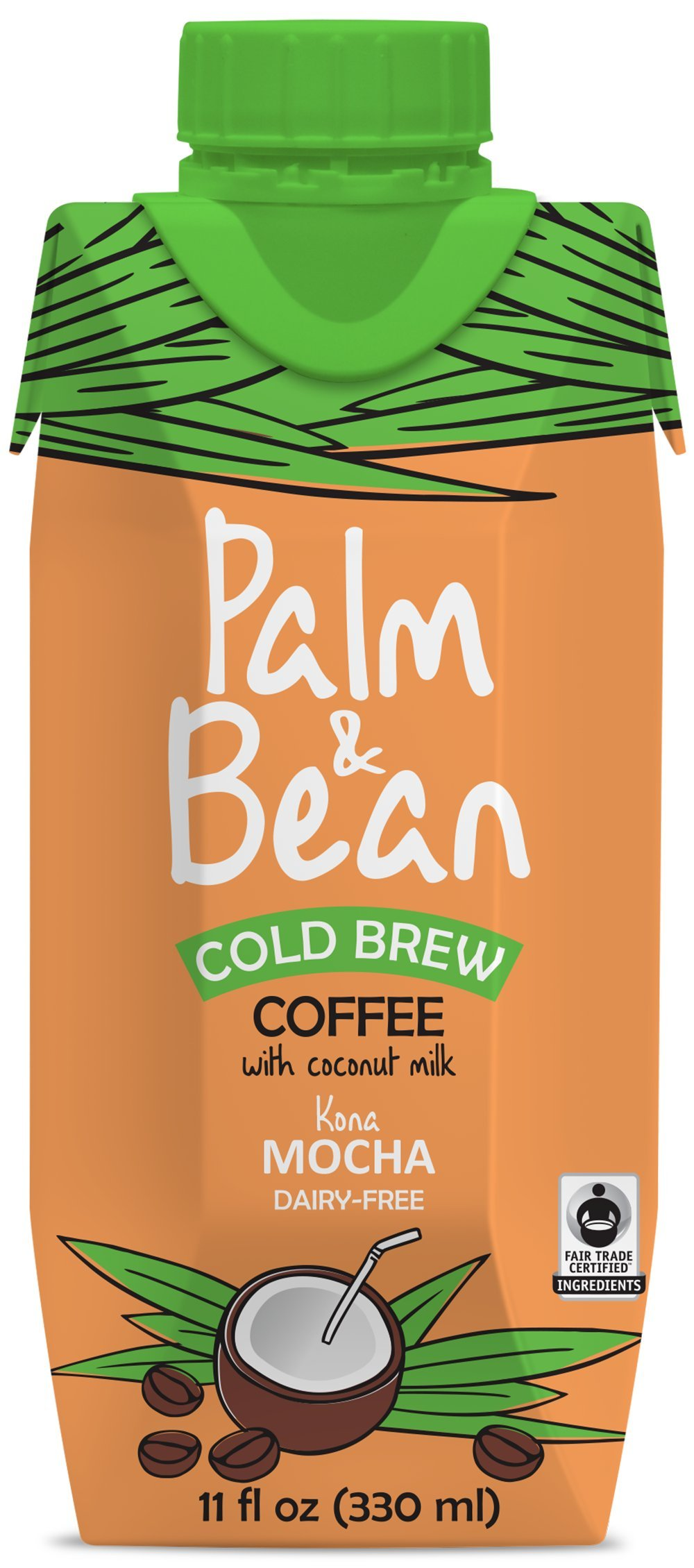 Cold Brew Coffee - Palm & Bean: Kona Mocha - Cold Brew + Coconut Milk - 12 Pack - Dairy Free - Smooth and Creamy Texture - Exquisitely Indulgent Coffee Notes - No Refrigeration Required