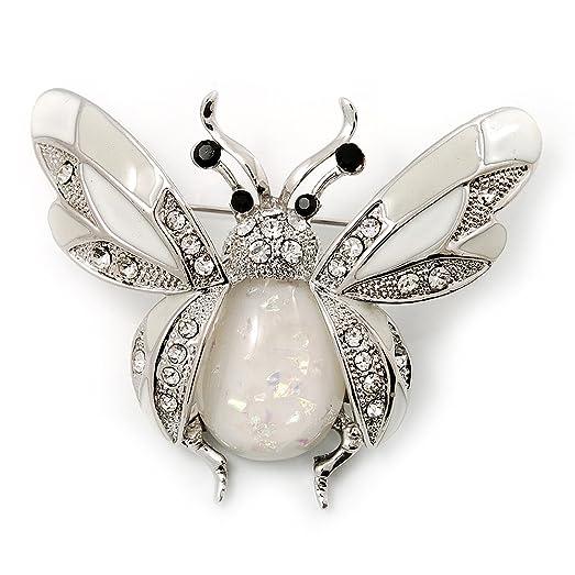 Avalaya Large Enamel Bug Brooch (White) us820ecabM