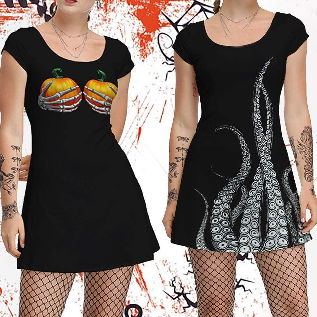 TIANRUN Women Halloween Pumpkin//Octopus Foot Printed Short Sleeve O-Neck Party Costume Sleeveless Dress