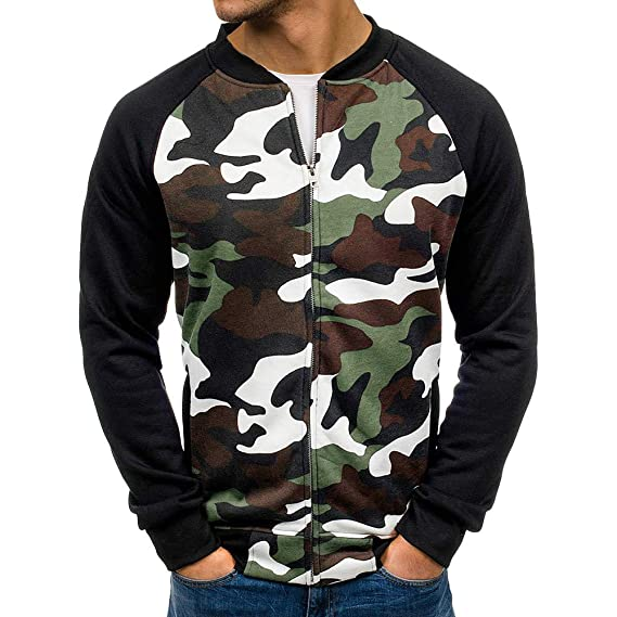 caaf7c133cbf8 HOMEBABY Men Baseball Jacket Casual Sport Camouflage Sweatshirt Long Sleeve  Sportswear Workout Fitness Yoga Tops Autumn
