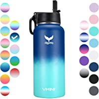 Vmini Water Bottle with New Wide Handle Straw Lid, Wide Mouth Vacuum Insulated 18/8 Stainless Steel, 32 oz