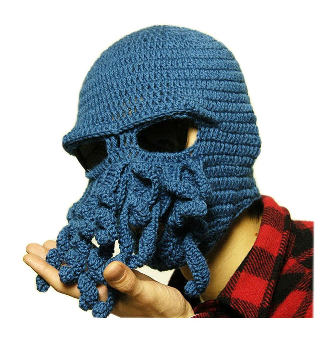 Amazon Mens Knit Hat Winter Funny Octopus Beard Beanie Hat Face