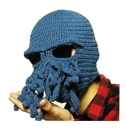 Amazon.com  Mens Knit Hat Winter Funny Octopus Beard Beanie Hat Face ... b1cfad658e6