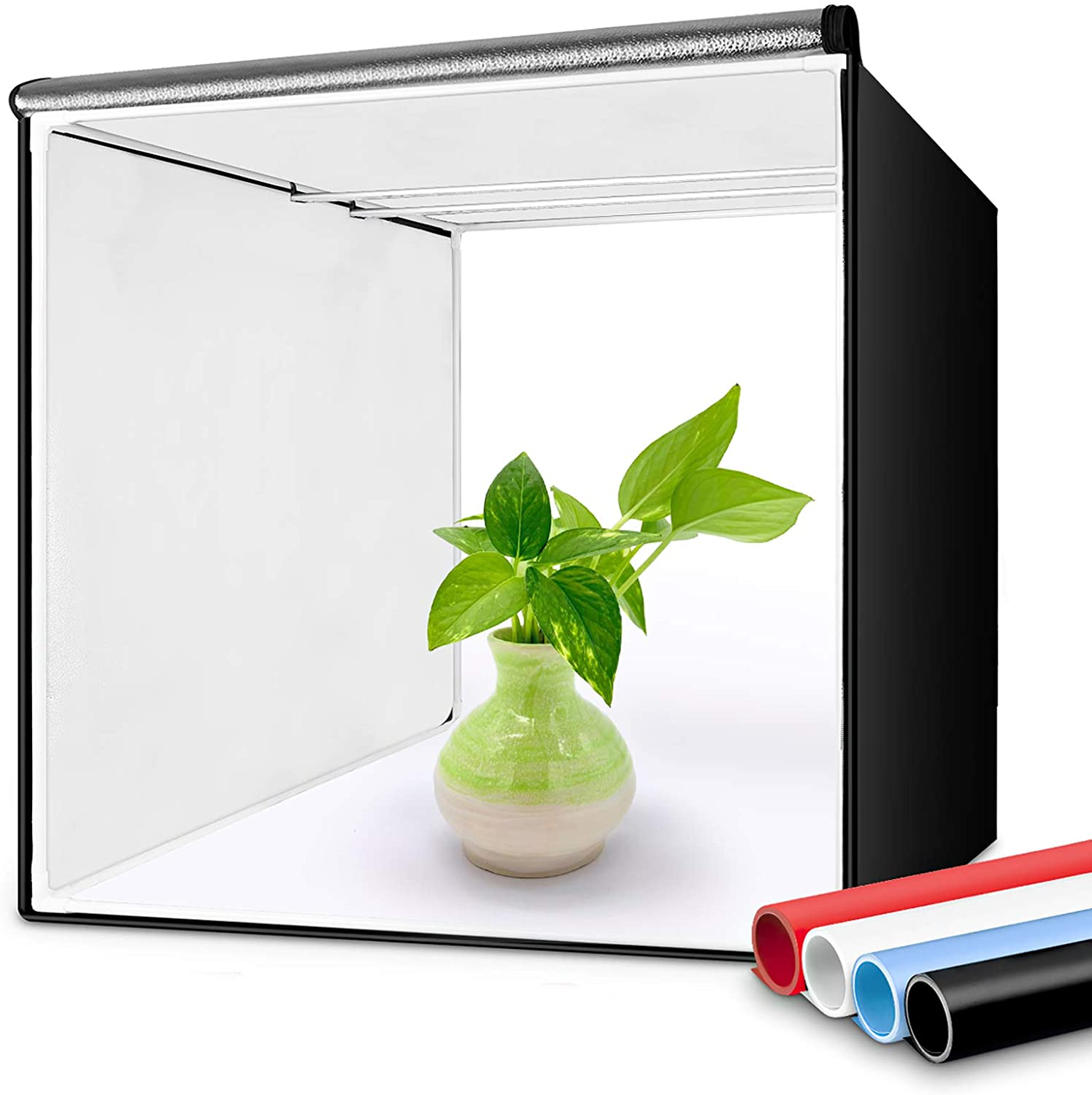 Professional Photo Light Box Food Shoes Photography Heorryn 16x16x16 Inches Portable Photo Studio Box Folding Shooting Tent Kit with Brightness Dimmable 126 LED Lights and 5 Backdrops for Jewellery
