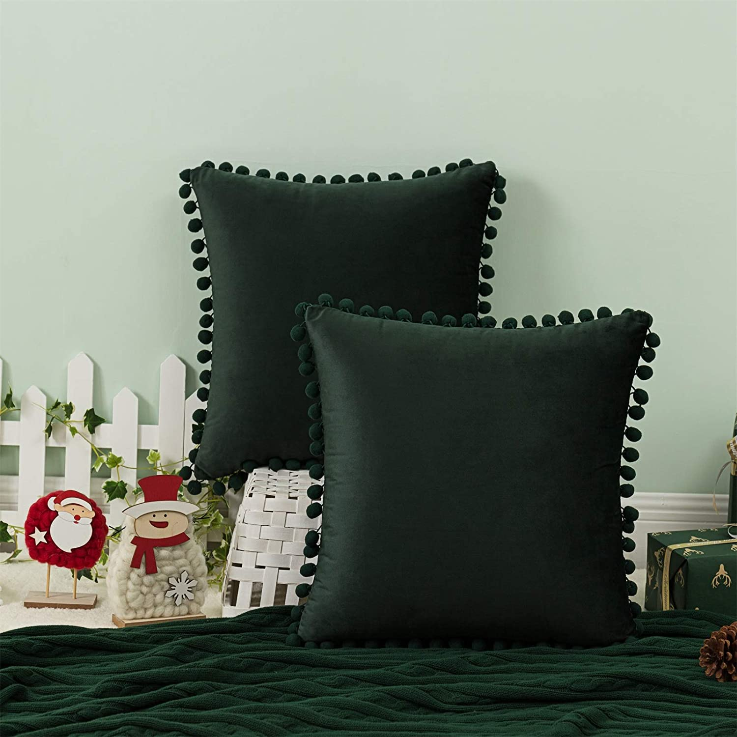 AQOTHES Christmas Decorative Throw Pillow Covers with Pom-poms, Velvet Sofa Soft Square Cushion Case for Home Holiday Decor Couch Bedroom (Dark Green,18x18 Inch, Set of 2)