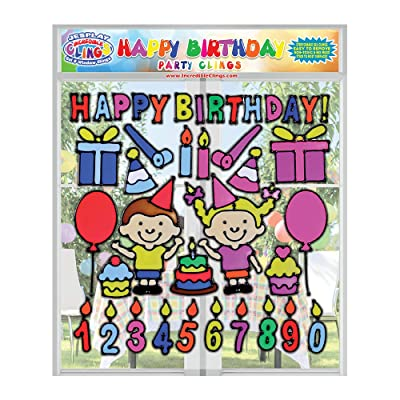 Happy Birthday Flexible Gel Clings – Reusable Glass Window Clings for Kids and Adults - Incredible Gel Decals for Boys and Girls With Cake, Cupcakes, Candles, for Home, Airplane, Classroom, Nursery: Toys & Games