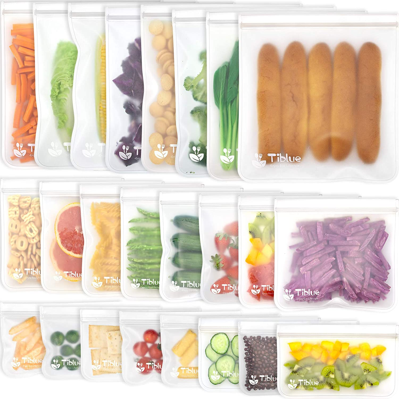 Reusable Food Storage Bags - 24 Pack BPA FREE Flat Freezer Bags(8 Reusable Gallon Bags + 8 Leakproof Reusable Sandwich Bags + 8 Food Grade Kids Snack Bags) Resealable Lunch Bag for Meat Fruit Veggies