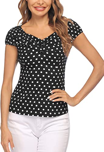 ELESOL Womens Retro Polka Dot Blouse Vintage Casual 1950s Rockabilly Shirt Pinup Tops for Women