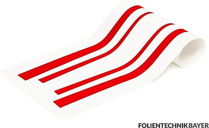 Folientechnik Bayer 1017 Akzentstreifen Kompatibel Mit Volkswagen Golf 7 Gti R Gte Gtd Rot 5 Türer Auto