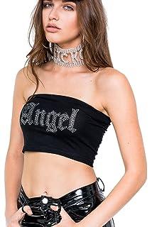 06fc5fbef8 Angel Bandeau Top Rhinestone Crop Tube Fun Women s Tumblr Grunge Cute Fashion  Goth Feminist