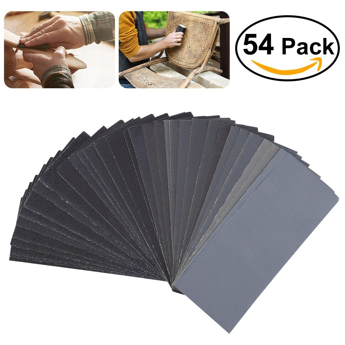UEETEK 54pcs 60 bis 3000 Korn Sandpapier Sortiment Nass Trockenes Sand Papier fü r Automotive Schleifen Holz