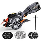 Circular Saw 710W, 6 Blades (115mm & 120mm), Cutting Depth : 46mm (90 °), 35mm (45 °), 3m Core Length, 3500RPM, Handheld Design for Tile, Wood, Soft Metal and Plastic Cuts, Tacklife TCS115A