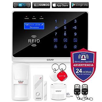 ERAY WM3FX Sistema de Alarma WiFi + gsm/ 3G, Alarmas para Casa, Antirrobo, Inalámbrico, App Gratuita, Servicio + Garantía, Multi-Accesorios y Pilas ...
