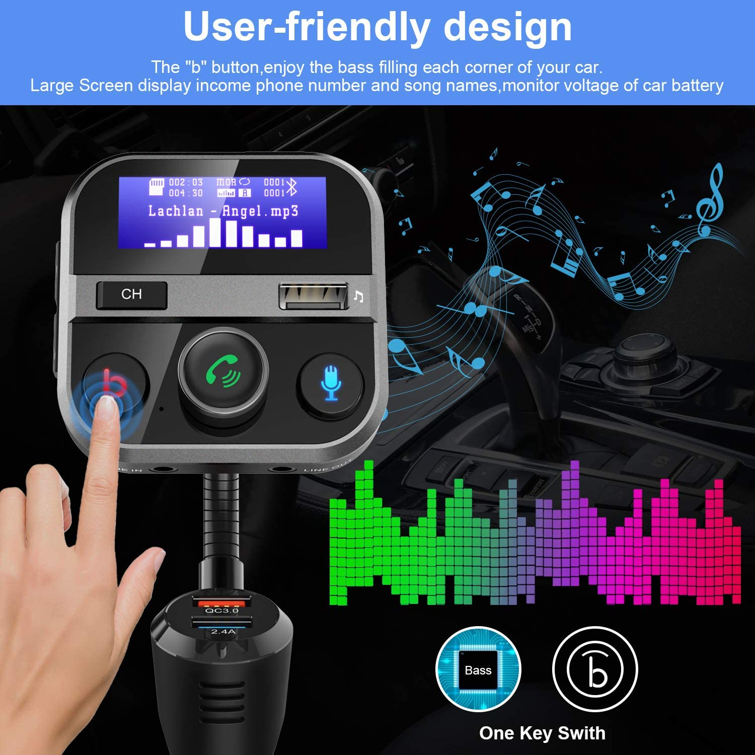 Support for USB Drive MicroSD TF Card Mp3 Player 2.4A and QC3.0 USB Ports AUX Input//Output Car Bluetooth FM Transmitter FM Radio Adapter Handsfree Car Kit 1.7 Inch Screen with Bass Switch Black