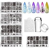 Biutee 5pcs Nail Stamping Plates + 1 Stamper + 1 Scraper Lace Flower Animal Pattern Nail Art Stamp Stamping Template…