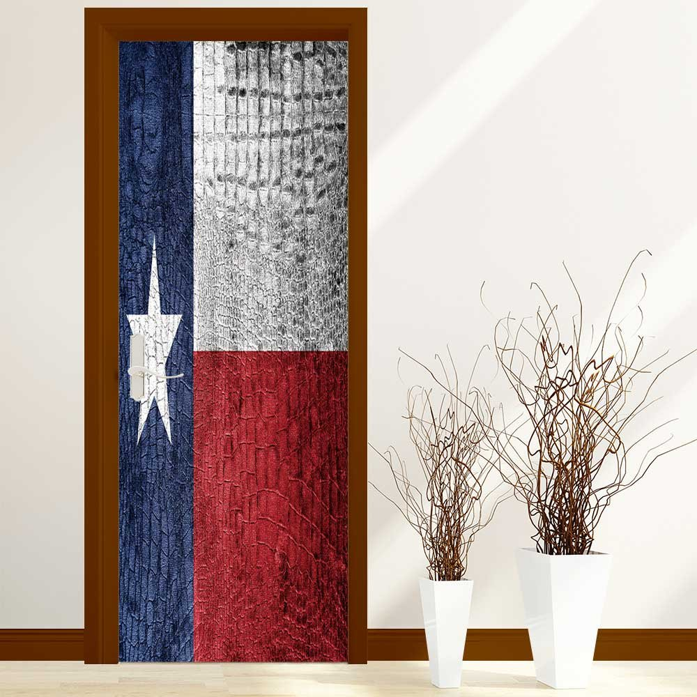 PhilipHOME 3D Door Wallpaper Creative Door Stickers Bedroom Doors Renovation Waterproof Door Stickers Arts Decals Wall Stickers Decor(Texas State Flag painted on luxury crocodile texture)