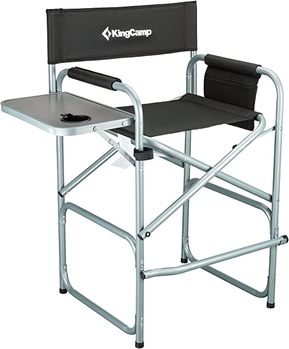 KingCamp Tall Makeup Folding Artist Chair Bar Height with Side Table