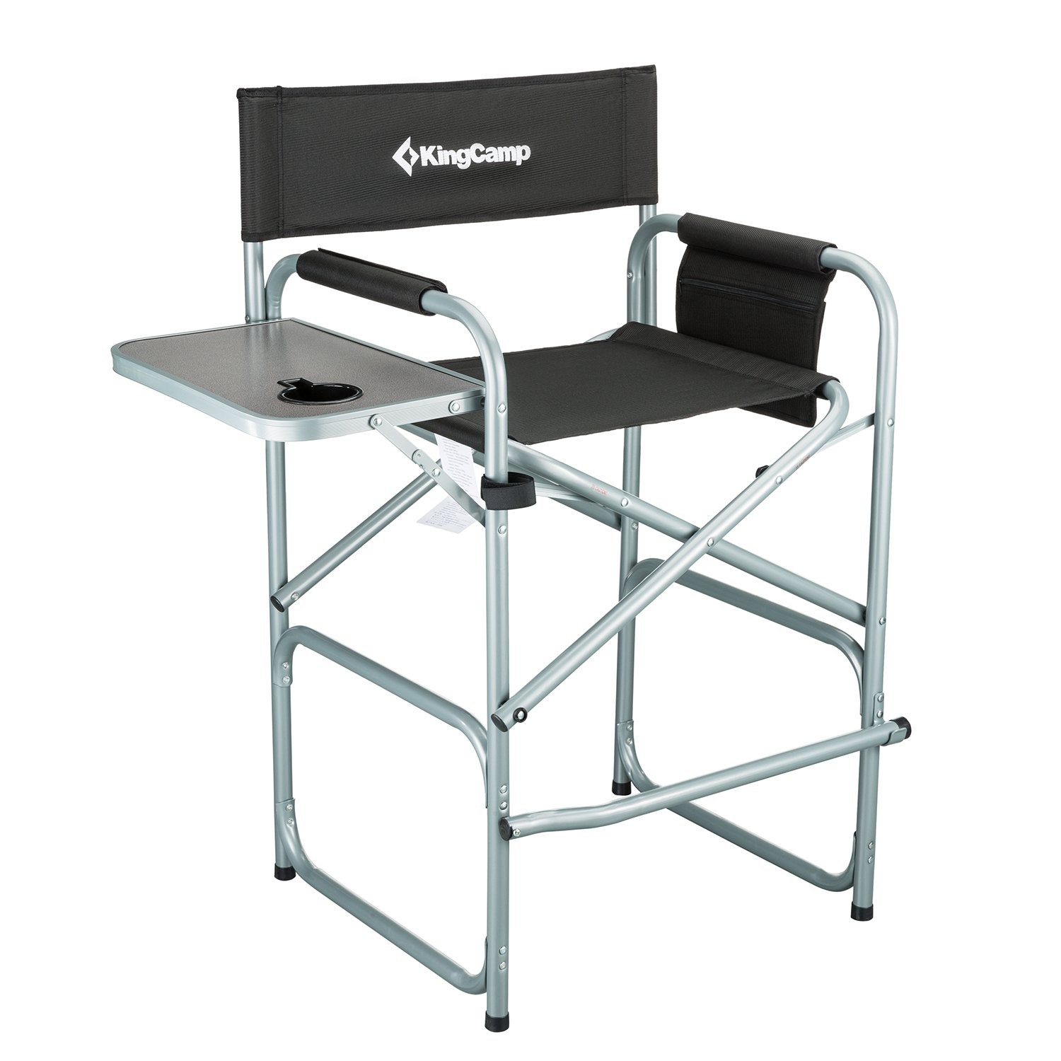 KingCamp Tall Director Chair Bar Height Steel Frame Collapsible with Side Table Cup Holder Side Storage Bag Footrest, Folding Portable, Supports 300 lbs by KingCamp