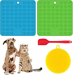 FPVERA Licking Mat for Dogs Cats Slow Feeder Lick Mat with Spatula Perfect for Dog Food Cat Food Cat Treats Yogurt or Peanut Butter - 2 Pack