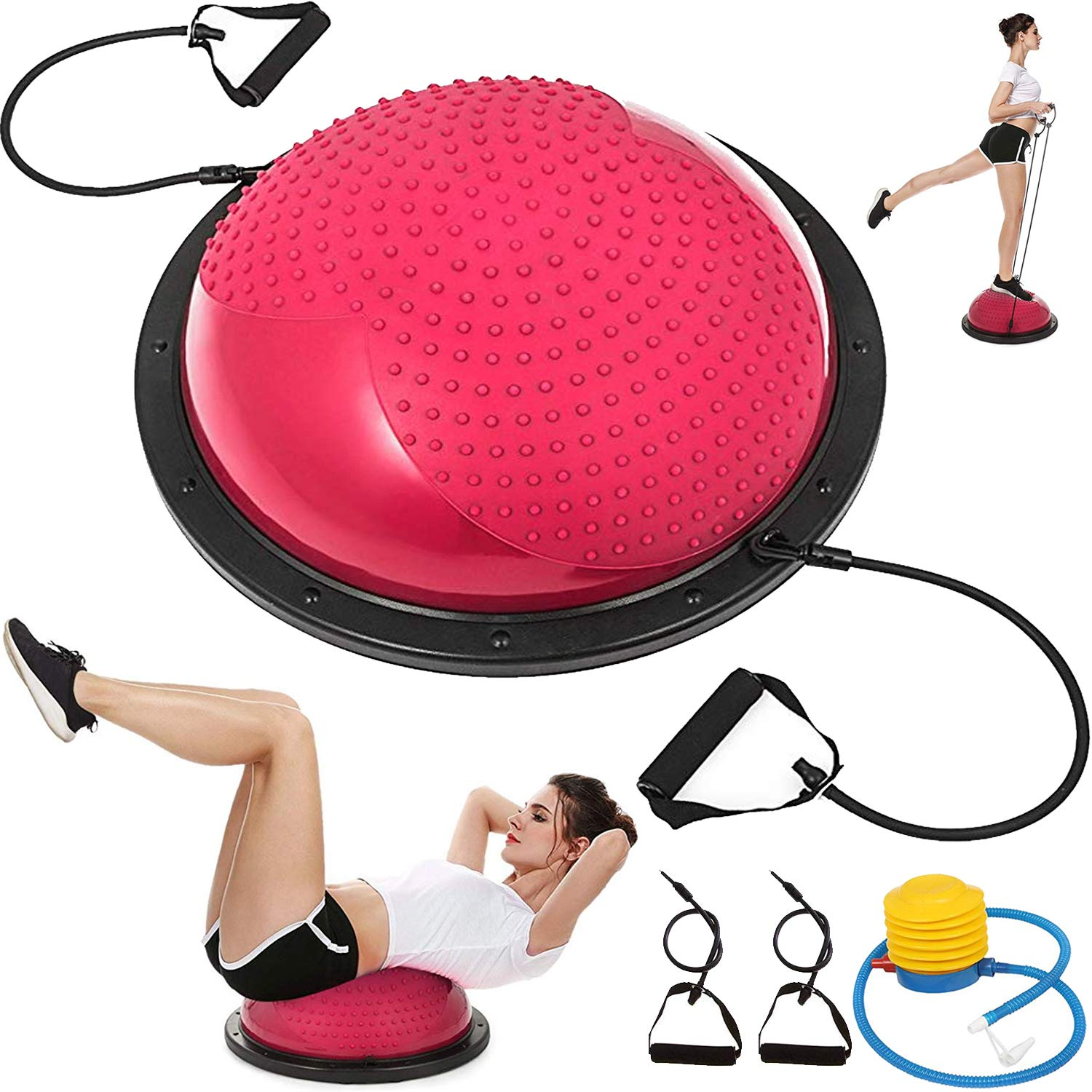 VEVOR Balance Trainer Ball 23 Inch Balance Trainer Blue Yoga Balance Ball Fitness Strength Exercise Workout with Resistance Bands and Pump (Pink Massage)